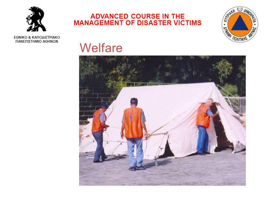 Welfare ADVANCED COURSE IN THE MANAGEMENT OF DISASTER VICTIMS ΕΘΝΙΚΟ & ΚΑΠΟΔΙΣΤΡΙΑΚΟ ΠΑΝΕΠΙΣΤΗΜΙΟ ΑΘΗΝΩΝ