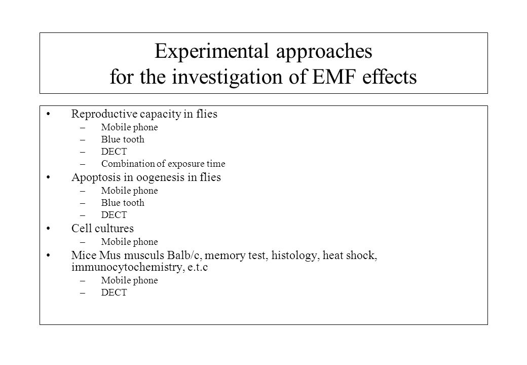 Experimental approaches for the investigation of EMF effects Reproductive capacity in flies –Mobile phone –Blue tooth –DECT –Combination of exposure time Apoptosis in oogenesis in flies –Mobile phone –Blue tooth –DECT Cell cultures –Mobile phone Mice Mus musculs Balb/c, memory test, histology, heat shock, immunocytochemistry, e.t.c –Mobile phone –DECT