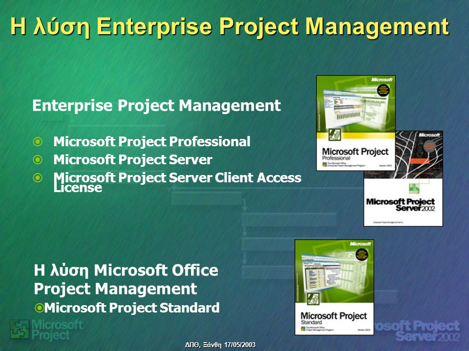 ΔΠΘ, Ξάνθη 17/05/2003 Η λύση Enterprise Project Management H λύση Microsoft Office Project Management   Microsoft Project Standard   Microsoft Project Professional   Microsoft Project Server   Microsoft Project Server Client Access License Enterprise Project Management