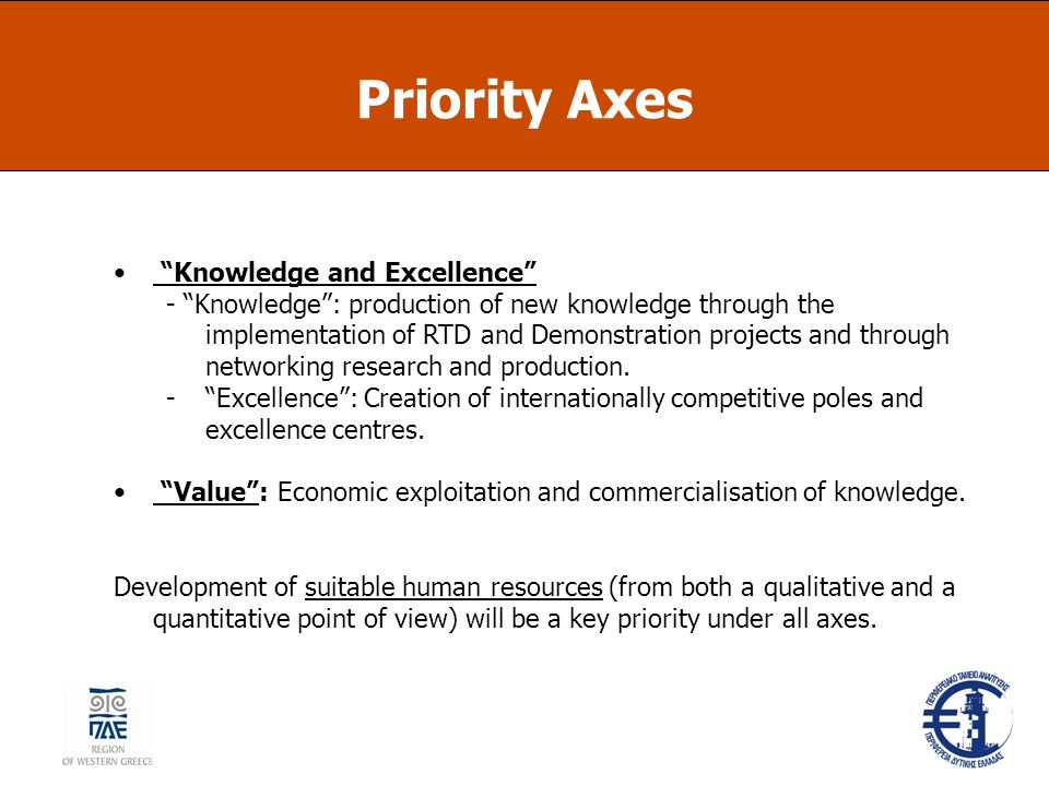 Priority Axes Knowledge and Excellence - Knowledge : production of new knowledge through the implementation of RTD and Demonstration projects and through networking research and production.