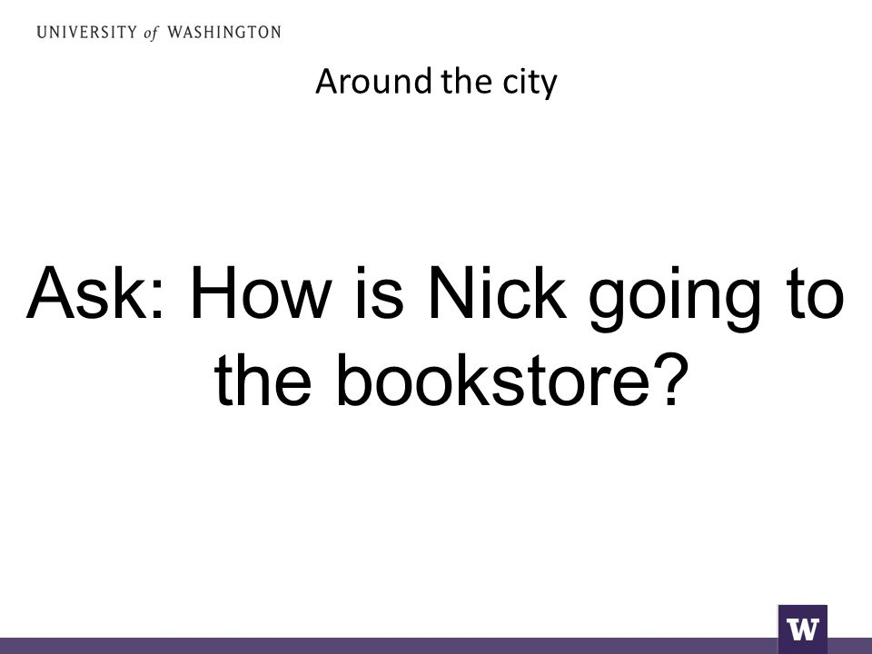 Around the city Ask: How is Nick going to the bookstore