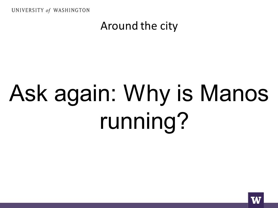 Around the city Ask again: Why is Manos running