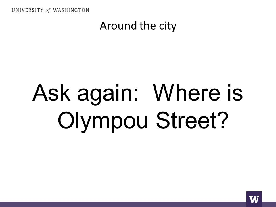Around the city Ask again: Where is Olympou Street