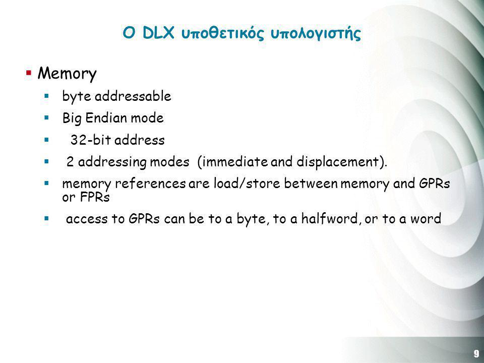 9 O DLX υποθετικός υπολογιστής  Memory  byte addressable  Big Endian mode  32-bit address  2 addressing modes (immediate and displacement).