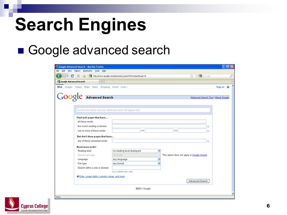 6 Search Engines Google advanced search